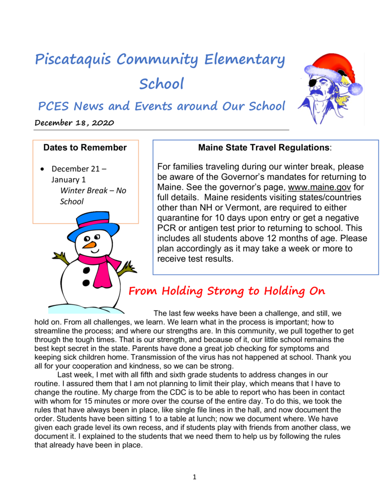 PCES December Newsletter