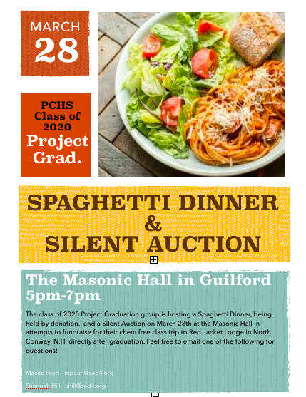 Project Grad Spaghetti Dinner