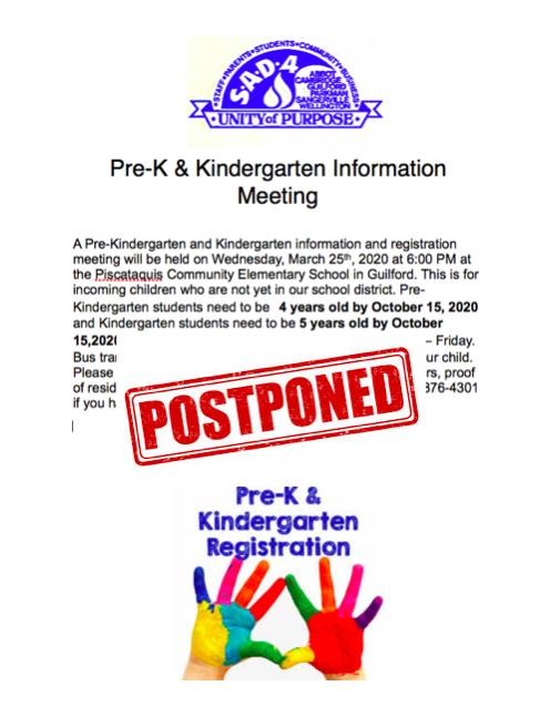 PreK Registration Postponed.
