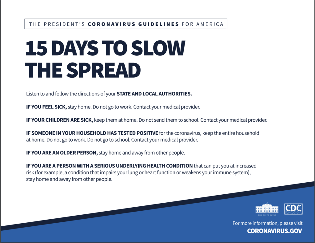 15 Days to Slow the Spread - White House Guidance